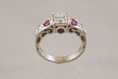 Diamond Ring with Ruby Accents