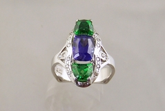 Tanzanite and Tsavorite Garnet Platinum Ring
