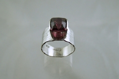 Rhodolite Garnet Mens Ring in Platinum