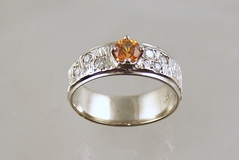 Spessertite and Diamond Ring